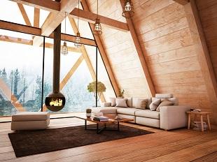 Salon avec poutres en bois