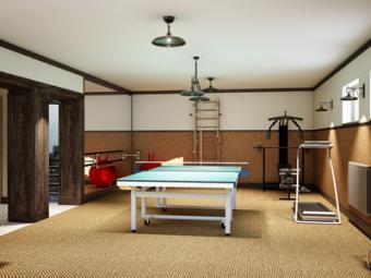 Sous-sol aménagé en salle de sport