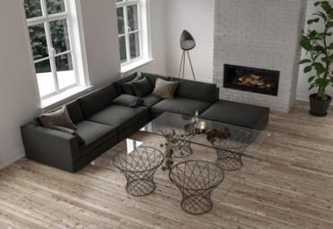 Salon avec insert de cheminée