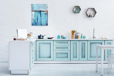 Meubles de cuisine peints en bleu turquoise