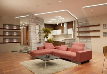 Salon avec faux plafond