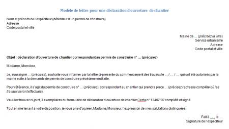 Modèle de lettre de déclaration d'ouverture de chantier